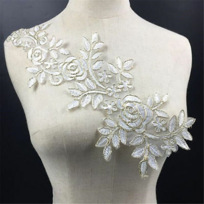 1 Pair DIY Embroidery  Lace Applique Sewing Wedding Dress Trim Craft Flora Patch 5