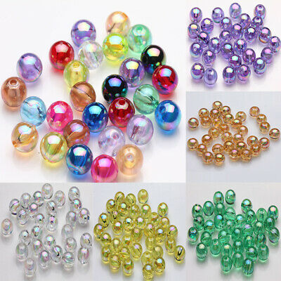 50/100Pcs Acrylic Round Plated AB Loose Spacer Beads Crafts Jewelry Findings DIY 3