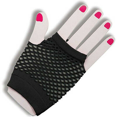 Women Short Fishnet Gloves Sexy Fingerless Gothic Party Black Mesh Mitten  DqTE 2