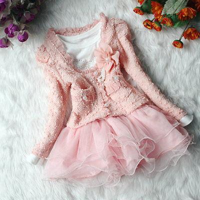 Ragazza Bambino Abbinamento Rosa Bianco giacca Gonna tutu festa di nozze Set 6