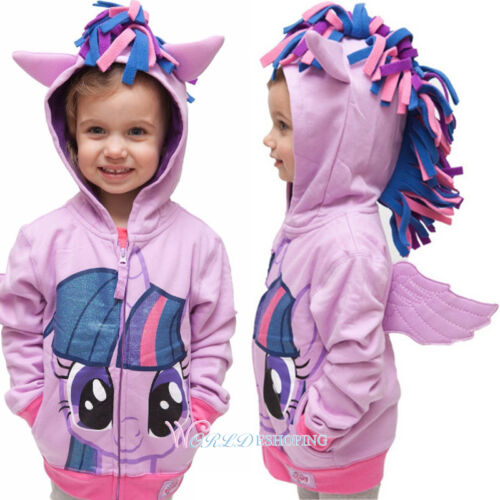 My Little Pony Hoodie Wings Kids Girls Jacket Coat Sweater Twilight Rainbow Dash 4