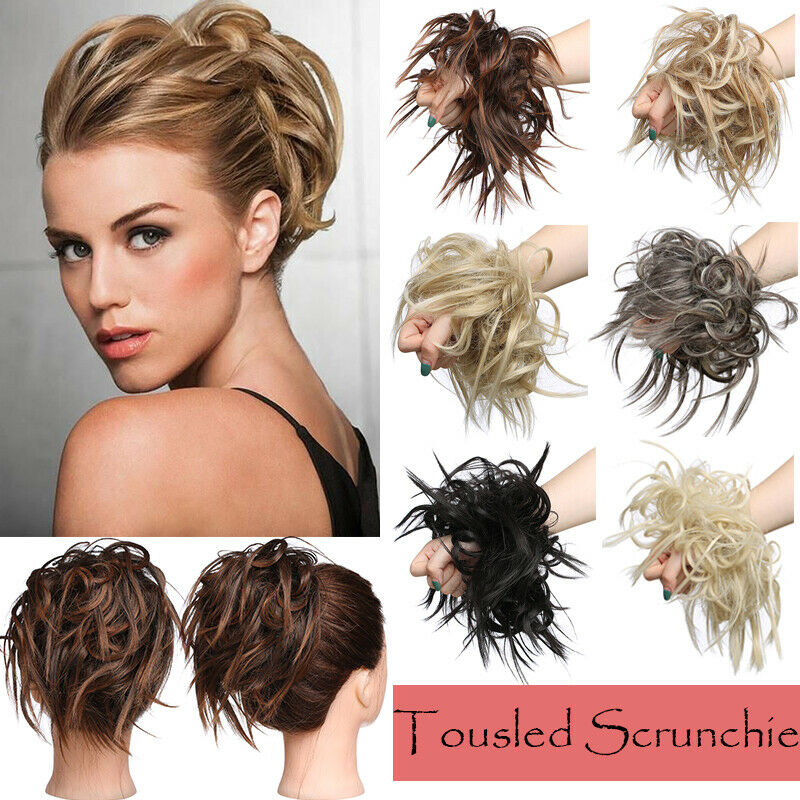 Large Thick Messy Bun Hair Scrunchie Updo Cover Curly Hair Extensions as Human 7