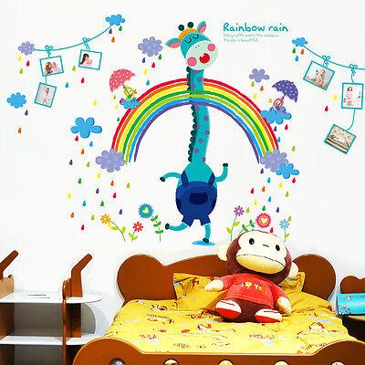 Wandtattoo Wald Sticker Tiere Deko Giraffe Rainbow Rain Kinderzimmer 8186