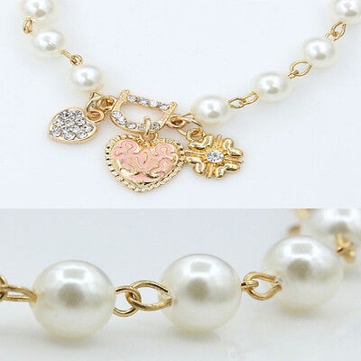 Fashion Gold Plated Women's Jewelry Crystal Heart Bangle Pearl Bracelet Hot 3