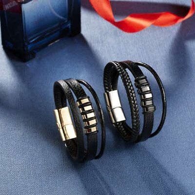 Punk Men's Leather Band Bracelet Watch Buckle Metal Magnetic Wristband Bangle 8