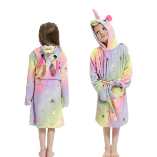 Kids Girls Boys Unicorn Dressing Gown Hooded Bath Robe Animal Print Night Wear 9