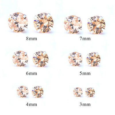 Fashion Woman Silver Plated Round Cubic Zirconia Crystal Stud Earrings Jewelry 4