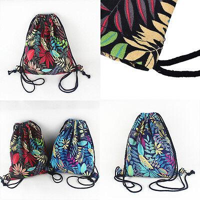 Gym Drawstring Backpack Canvas Draw String Bucket Bag PE Travel Shoulder Bags NT 7
