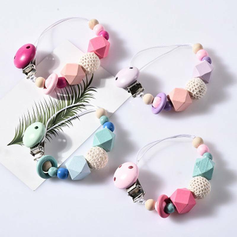 Silicone Baby Teething Dummy Pacifier Clip Bead Infant Soother Nipple Strap Gift 3