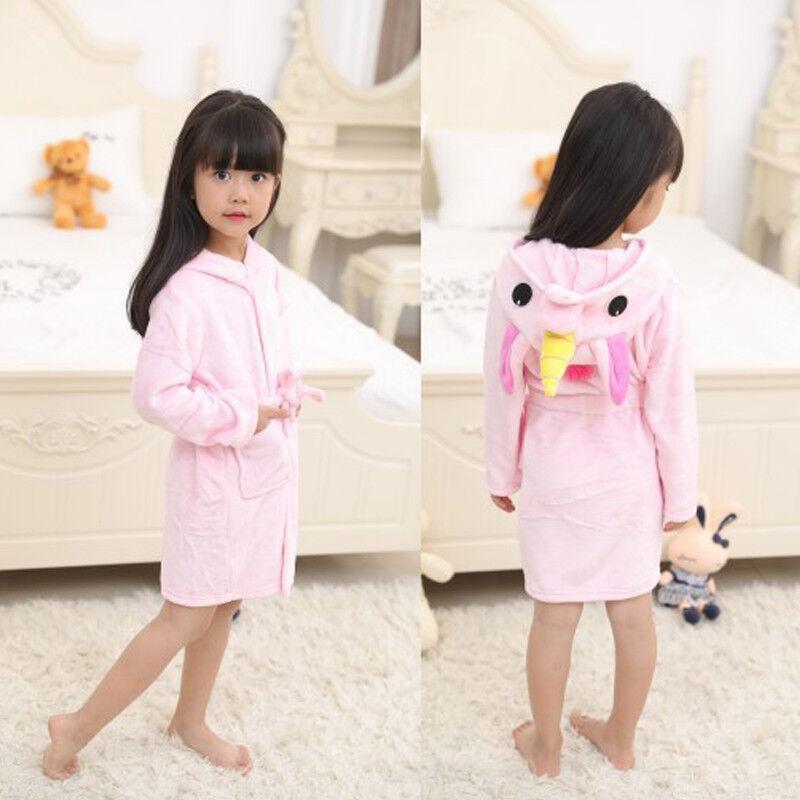 3b99c53e3c6c4 Kids Girls Boy Bathrobe Hooded Unicorn Dress Up Costume Fleece Pyjamas  Nightwear 8 8 of 12 ...