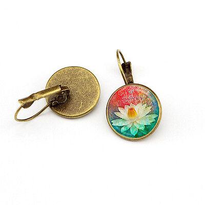 Elegant Round Stud Ear Vintage Women Girls Lady Crystal Flower Hoop Earrings 11