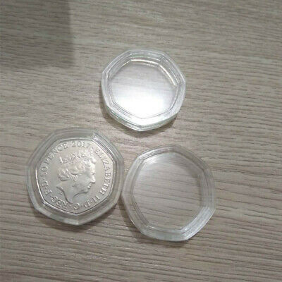 50P Coin Capsules Direct Fit Clear Cases For 50 Pence Uk Stock 2