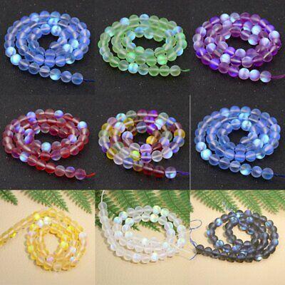 Wholesale Mystic Aura Quartz Gemstone Loose Beads Holographic Matte Bracelet 6mm 2