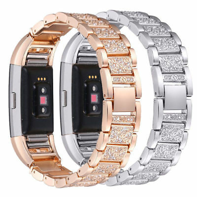 For Fitbit Charge 2 Smart Watch Crystal Stainless Steel Watch Band Wrist Strap E 4