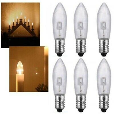 50Stk LED E10 Topkerzen Riffelkerzen Spitzkerzen Ersatz Lichterkette 0,2W 10-55V 7