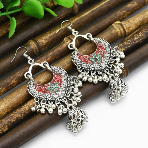 Vintage Sliver Bollywood Jewelry Meenakari Jhumki Jhumka Drop Earrings for Women 8
