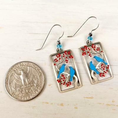 Sienna Sky Earrings 925 Sterling Silver Hook Two Birds in a Cherry Tree Handmade 5