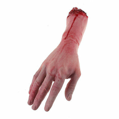 1Pair Bloody Horror Scary Halloween Props Fake Severed Arm Hand Haunted Decor US 9