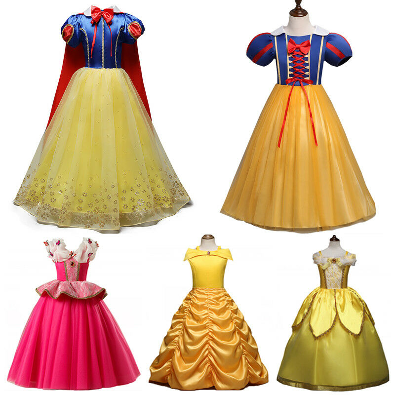 Princess Belle Cinderella Costume Party Gown Dress Frozen Girl Kid Child Dresses 2