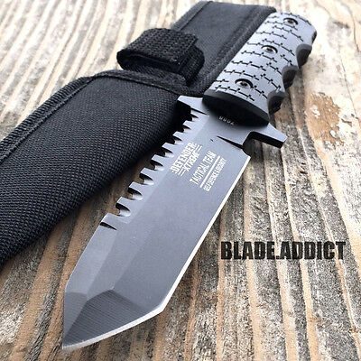 """9"""" Full Tang Tactical Hunting Survival Knife w/ Sheath Military Bowie Combat 2"""