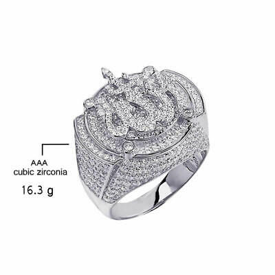 Mens 10K Real White Gold Over Pure Silver Lab Diamonds Islamic Allah Pinky Ring 2