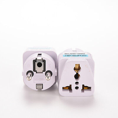 Portátil UK US AU a la UE Convertidor de enchufe europeo Power Socket Adapter ** 4