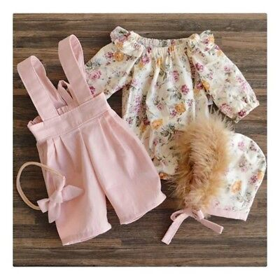 2PCS Toddler Kids Baby Girl Winter Clothes Floral Tops+Pants Overall Outfits AU 2