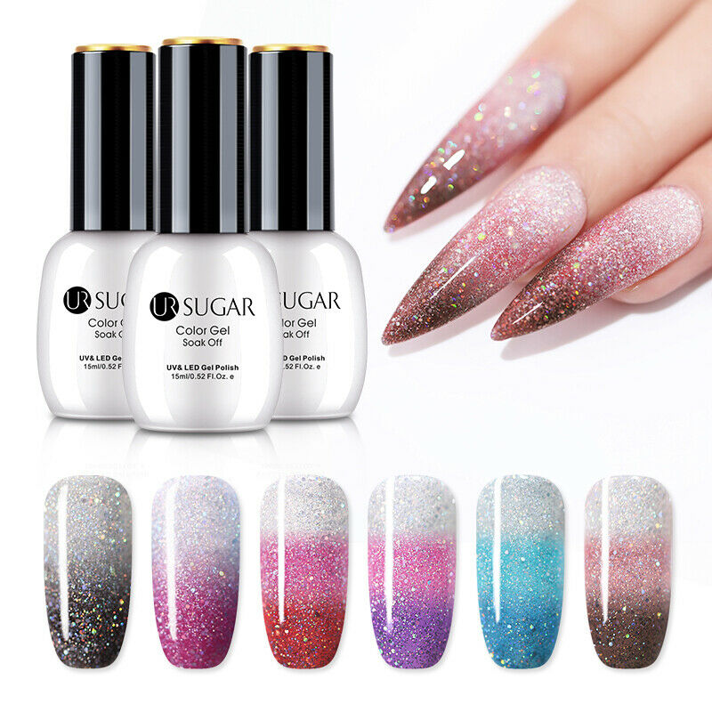 UR SUGAR 15ml Thermal Gel Polish 3-layers Glitter Soak Off UV Gel Nail Varnish 3