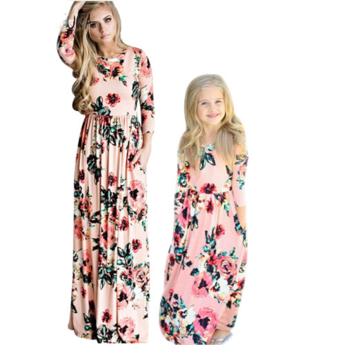 Family Clothes Mother Daughter Dresses Womens Girls Floral Long Maxi Dress 8