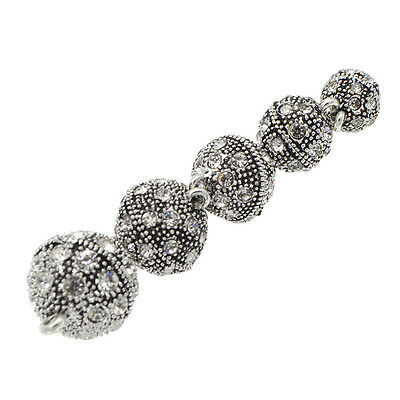 5 Pcs Crystal Rhinestone Pave Round Ball Magnetic Clasp Strong Connector Closure 5