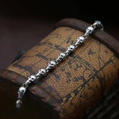 925 Sterling Silver Skull Bracelet Hallmarked 3