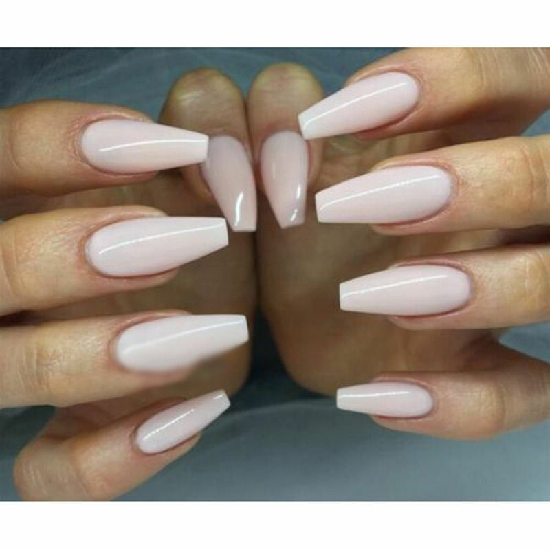 100/600PCS LONG Ballerina Coffin Shape Full Cover False Fake Nails ...