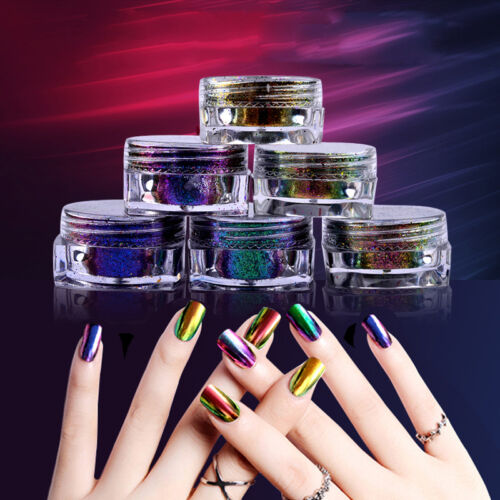 6 Colors Chameleon & Gold Silver Mirror Chrome Powder Pigment Dust Nail Sell 3