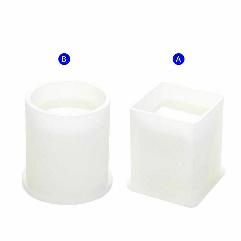DIY Silicone Mold Pen Container Square Round Storage Holder Epoxy Resin Molds 6