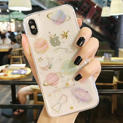 Phone Case For iPhone 6 6S 7 8 Plus Shockproof Cute Planet Moon Star Case Cover 8