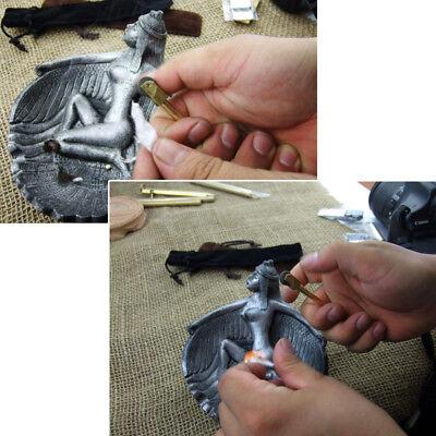 EDC Brass Gear Spark Wheel Fire Kit Keychain Starter Survival Outdoor Werkzeug