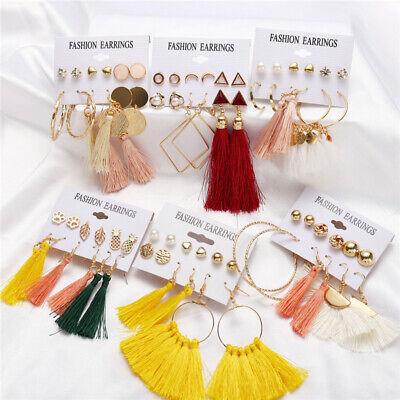 6Pairs Boho Tassel Crystal Pearl Earrings Set Women Ear Stud Dangle Jewelry Gift 3