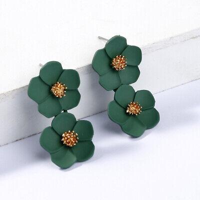 Fashion Crystal Women Flower Drop Dangle Earrings Ear Stud Jewelry Double Layer 10
