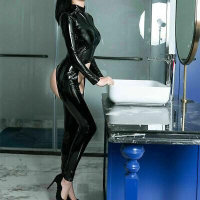 Sexy Wet Look Latexoptik Catsuit Overall Bodysuit Langarm Reißverschluss Dessous 3
