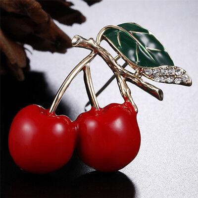 Rouge émail cerise métal broche broches bouton cristal broches pull clip bij IU