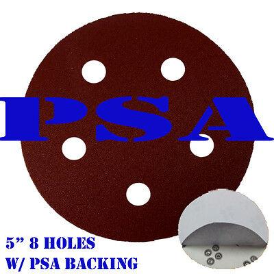 "5"" 5 Holes Sanding Paper Disc Sandpaper Adhesive PSA Backing Peel and Stick"