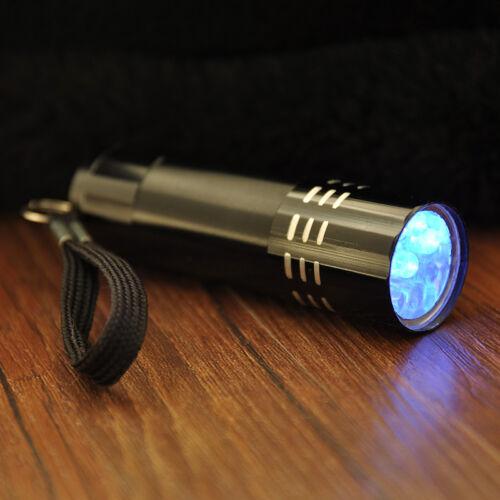9 LED Mini Aluminum UV Ultra Violet Flashlight Blacklight Torch Light Lamp Black