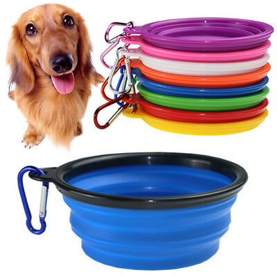 Folding Pet Dog Silicone Travel Feeding Bowl Collapsible Food Water Dish Feeder 2
