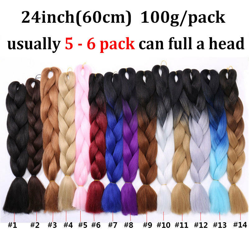 "5 Bundles 24"" 100g Ombre Xpression Jumbo Braiding Afro Hair Extensions as human 6"