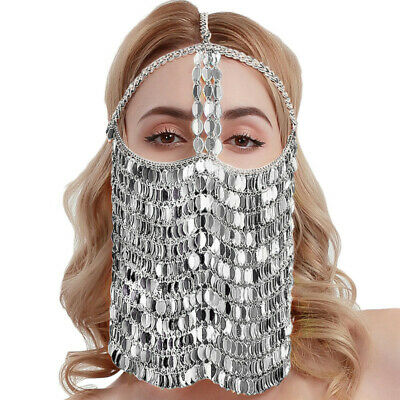 Fetish Colorful Leaves Belly Dance Face Mask BDSM Veil Mask Indian Head Chain 5