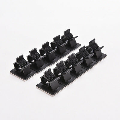 10x Cable Clips Adhesive Cord Management Organizer Wire Holder Clamp Black MO 4