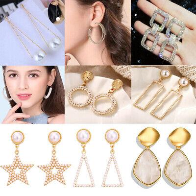 Women Metal Simple Geometric Circular Marble Drop Long Earrings Vintage Ear Stud 4
