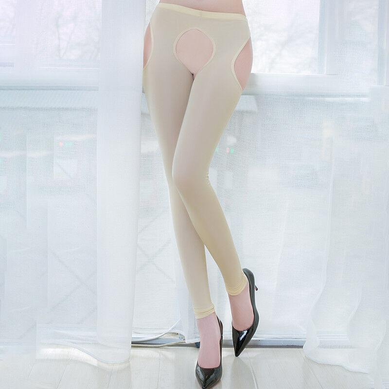 Women IceSilk Shiny Open Crotch Long Sheer Pants See Through Elastic Leggings * 11