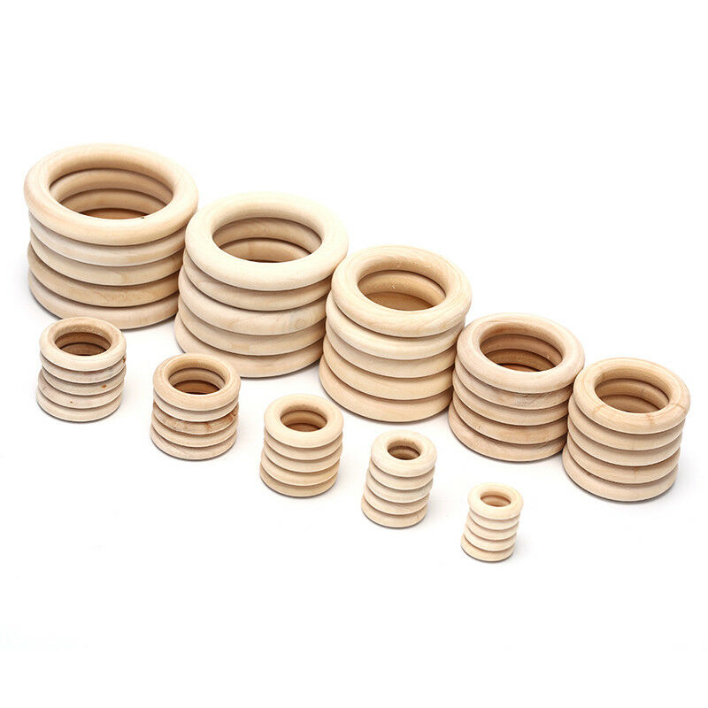 1Bag Natural Wood Circles Beads Wooden Ring DIY Jewelry Making Crafts DIY UK 3