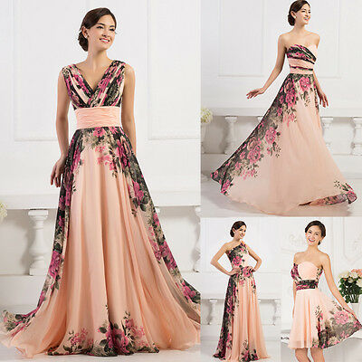2015 Vintage Rosso Fuoco Floreale Gowns Damigella D'onore Serata Festa Formale 5